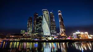Фотографии Москва Россия Река Небоскребы Ночью Города