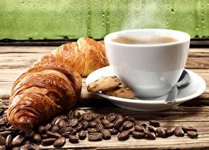 Обои Круассан Кофе Печенье Зерна Пар Еда