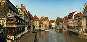 Обои Франция Страсбург Водный канал Улица Города