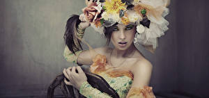 Картинка Оригинальные Макияж Девушки Цветы