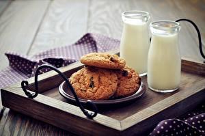 Обои Печенье Молоко Продукты питания