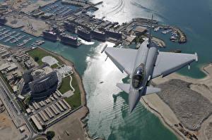 Картинки Дубай Истребители Eurofighter Typhoon Города Авиация