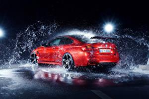 Обои BMW Брызги Красная M4 AC-Schnitzer German Автомобили