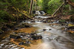 Фотография Штаты Реки Водопады Мосты Мичиган Chapel Falls Alger County Природа