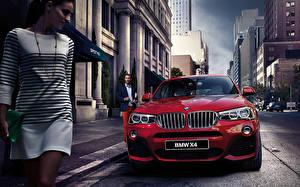 Фотография BMW Спереди Красных Улица 2015 X4 F26 автомобиль