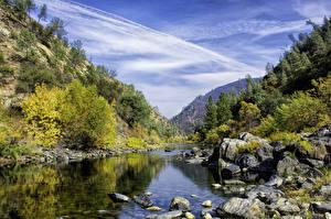 Фотографии Гора Осенние Озеро Камни Пейзаж Природа