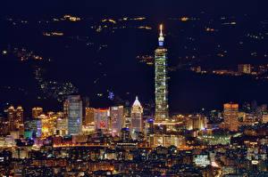 Фотографии Китай Дома Тайвань Тайбэй Ночь
