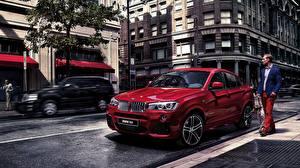 Картинка BMW Красные Улице 2015 X4 F26 автомобиль