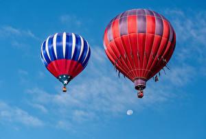 Картинка Небо Воздушный шар Двое Авиация