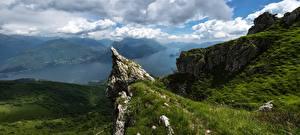 Обои Италия Озеро Горы Пейзаж Альпы Grona Mountain Monte Grona Lake Como Lombardy Природа фото