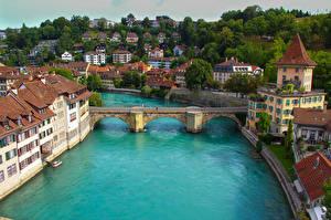 Обои Швейцария Мосты Реки Берн Водный канал