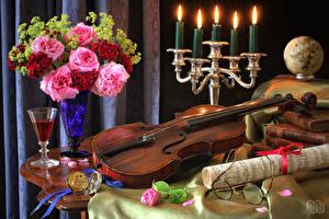 Обои Натюрморт Скрипка Свечи Букеты Цветы