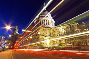 Фотографии Великобритания Англия Храм Собор Лондоне Ночные Едущий St Paul's Cathedral