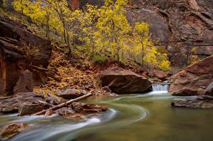Фотографии США Парк Реки Зайон национальнай парк Скалы Utah Природа