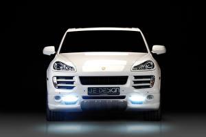 Картинка Porsche Белый Спереди 2008 Je Design Cayenne GTS 957 Машины