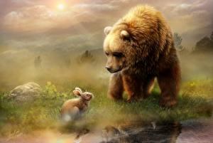 Фотография Медведи Зайцы Живопись Туман Животные