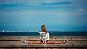 Фото Гимнастика Ноги Шпагат Растяжка упражнение Alyssa Девушки