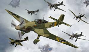 Фото Самолеты Junkers Ju.87A Stuka Авиация 3D_Графика
