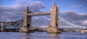 Картинка Англия Мост Речка Лондоне tower bridge Города