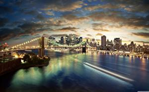 Обои Мосты Небоскребы США Небо Нью-Йорк Манхэттен Облака Brooklyn Bridge Города
