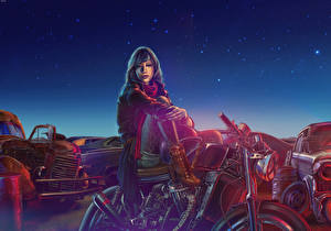 Фото Рисованные Картина Ночь Девушки Мотоциклы Автомобили