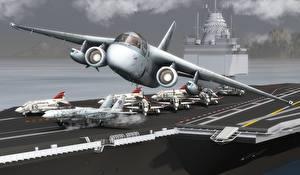 Фото Самолеты Авианосец Взлет Viking Авиация 3D_Графика