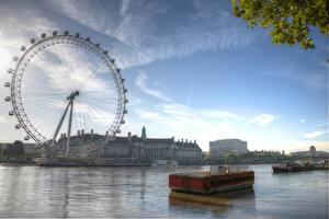 Картинки Англия Небо Колесом обозрения Лондон Lies Thru a Lens London Eye at Dawn Города