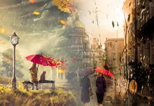 Фотография Санкт-Петербург Дождь Картина Россия Зонтом Уличные фонари Улиц Скамья Города Девушки