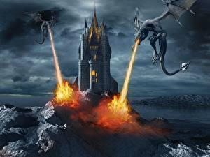 Картинки Драконы Огонь Замки Двое Symphonic Metal-Dark end Beautiful VI (2013)