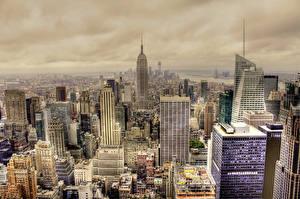 Фотография Штаты Небоскребы Дома Нью-Йорк Манхэттен Города