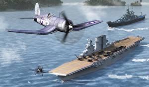 Картинка Самолеты Авианосец Рисованные Saratoga Авиация
