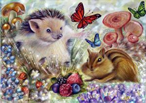 Фото Ежи Бурундуки Бабочки Рисованные