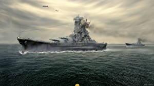 Фотография Корабли Рисованные Японские battleship Yamato Армия