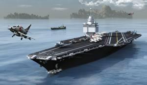 Картинки Авианосец Истребители Взлет USS Enterprise (CVN-65) Армия 3D_Графика