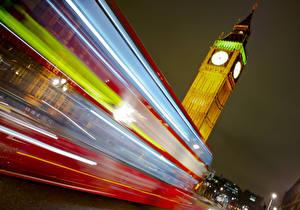 Фото Англия Лондоне Биг-Бен Ночь Едет Jamie Frith
