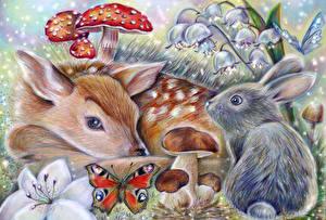 Фото Олени Рисованные Зайцы Грибы природа Животные
