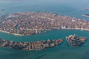 Обои Италия Море Остров Венеция Сверху Города фото