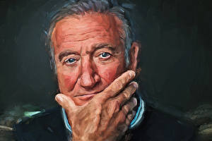 Обои Рисованные Мужчины Лицо Взгляд Руки Robin Williams Знаменитости фото