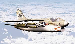 Фотография Самолеты Истребители LTV A-7 Corsair II Авиация 3D_Графика