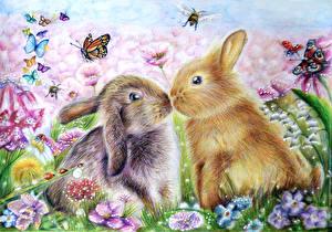 Картинки Зайцы Рисованные Бабочки Вдвоем