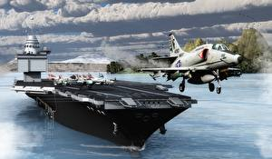 Обои Авианосец Истребители Самолеты Взлет USS Enterprise (CVN-65) Армия 3D_Графика
