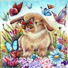 Фото Зайцы Бабочки Рисованные Животные