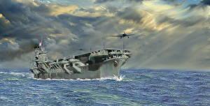 Фотографии Авианосец Рисованные Японские aircraft carrier Shinano Армия