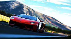 Фотография Lamborghini Спереди Дорогие Красный Aventador soprt car Машины