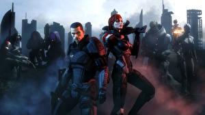 Обои Mass Effect Мужчины shepard garrus vakarian liara t'soni asari geth legion Tali'Zorah nar Rayya Urdnot Wrex Mordin Solus Девушки