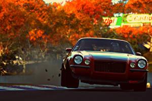 Картинка Gran Turismo Шевроле Осенние Спереди Красная pozzi motorsports camaro rs muscle car vehicle sport Gran Turismo 6 Автомобили
