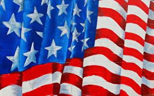 Фотография США Граффити Текстура Флаг Полоски
