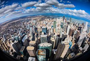 Фотографии Штаты Дома Небоскребы Чикаго город Облака Мегаполис Illinois Города