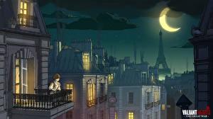 Фотография Дома Рисованные Франция Лунный серп Эйфелева башня Луна Ночью Париж valiant hearts ubisoft Игры Города