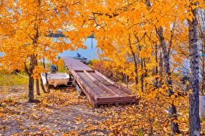 Картинки Осенние Мосты Озеро Лодки Деревья Природа